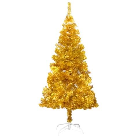 Artificial Christmas Tree with Stand Gold 152 cm PET