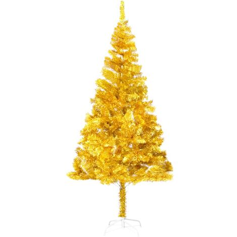 Artificial Christmas Tree with Stand Gold 180 cm PET