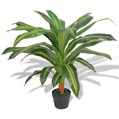 Artificial Dracaena Plant with Pot 90 cm Green