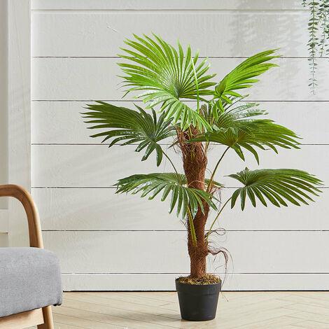 "main image of ""Artificial Fan Palm Tree Green Plant in Pot, 120CM"""