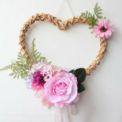 Artificial Flower Wicker Wreath Hanging Garland Ring