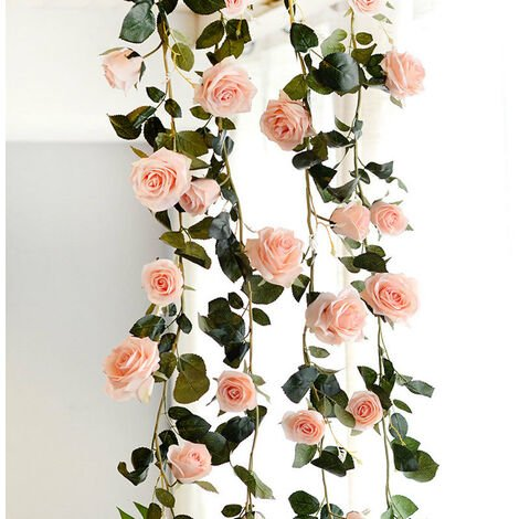 Artificial Flowers Vine String Blooming Rose Plant Green Leaf Faux Flower Decors, Champagne