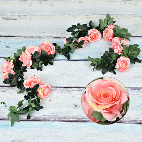 Artificial Flowers Vine String Blooming Rose Plant Green Leaf Faux Flower Decors, Pink