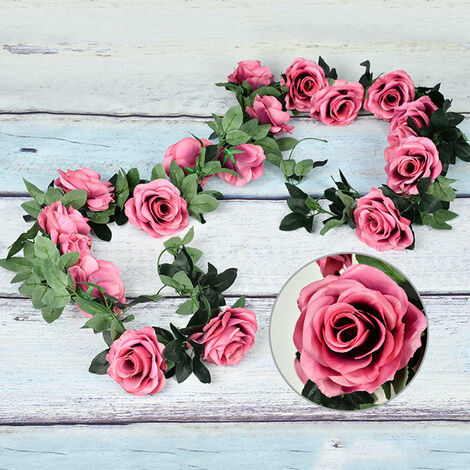 Artificial Flowers Vine String Blooming Rose Plant Green Leaf Faux Flower Decors, Purple