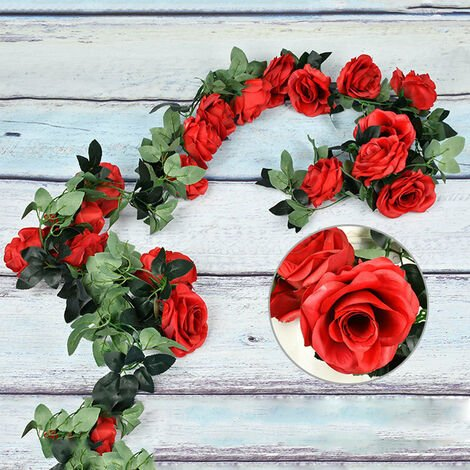 Artificial Flowers Vine String Blooming Rose Plant Green Leaf Faux Flower Decors, Red