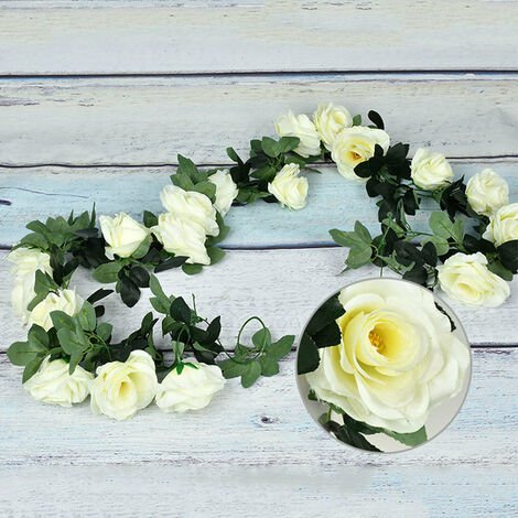 Artificial Flowers Vine String Blooming Rose Plant Green Leaf Faux Flower Decors, White