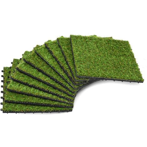 Artificial Grass Tiles 10 pcs 30x30 cm Green
