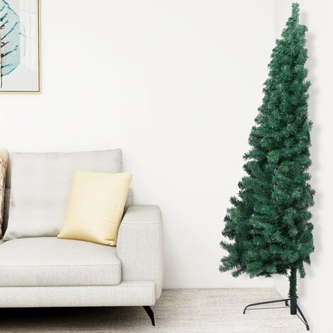 Artificial Half Christmas Tree with Stand Green 210 cm PVC - Green