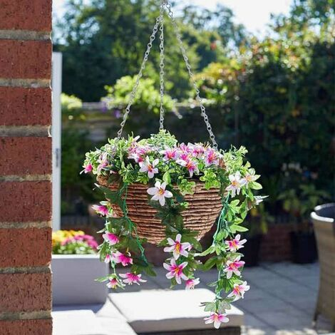 "main image of ""Artificial Hanging Basket - Star Gazing Lillies"""