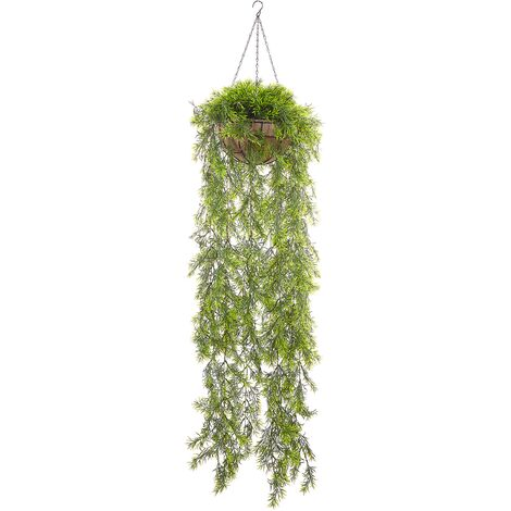 Artificial Hanging Potted Plant 150 cm Trailing for Indoor with Jute Basket Fern