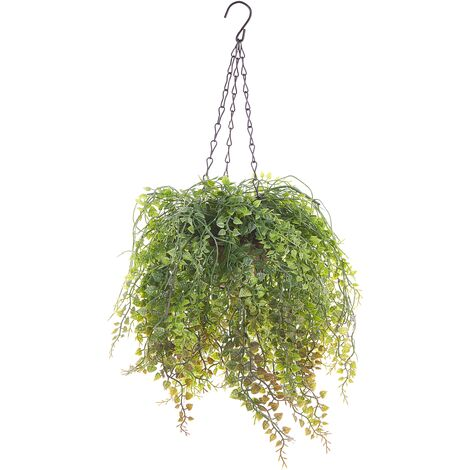 Artificial Hanging Potted Plant 48 cm Trailing for Indoor with Jute Basket Boxus