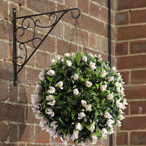 Artificial Ivory Tulip Flower Balls Hanging Topiary with Chain
