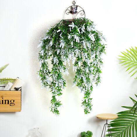 Artificial Lavender Fake Vine Leaf Hanging Basket Flower Garden