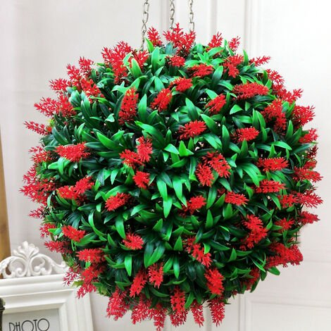Artificial Lavender Flowers Ball Grass Hanging Flower Topiary Ball Wall Decoration, Red&Green