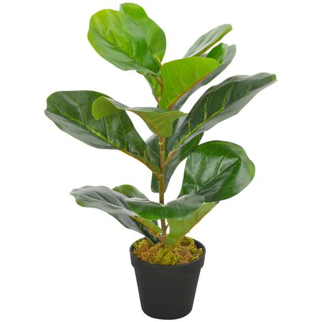 Artificial Plant Fiddle Leaves with Pot Green 45 cm