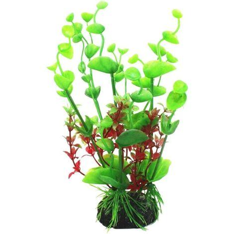 Artificial plastic plant for aquarium decoration, green, one size