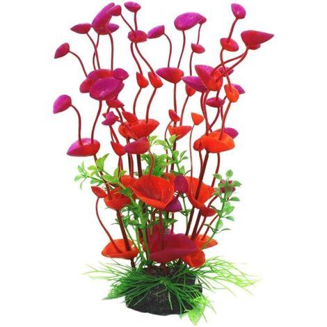 Artificial plastic plant for aquarium decoration, red, single size