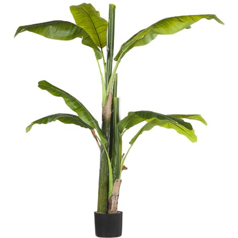 Artificial Potted Plant for Indoor Use Modern Plastic Decoration with Black Pot Banana Tree