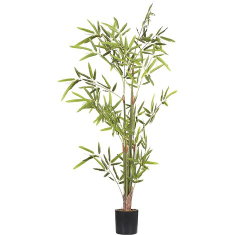 Artificial Potted Plant for Indoor Use Modern Plastic Decoration with Black Pot Bomboo