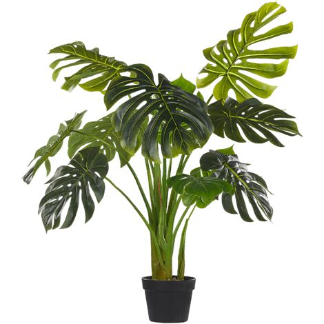 Artificial Potted Plant for Indoor Use Modern Plastic Decoration with Black Pot Monstera Plant