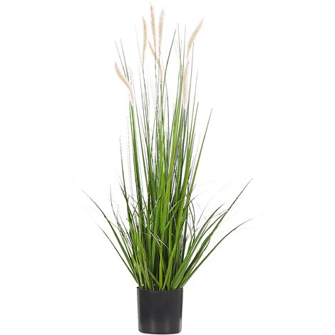 Artificial Potted Plant for Indoor Use Modern Plastic Grass Decoration with Black Pot Reed Plant