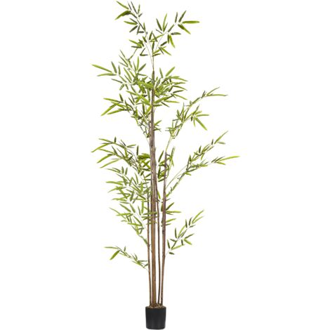 Artificial Potted Plant for Indoor Use Modern Tall Plastic Decoration with Black Pot Bomboo