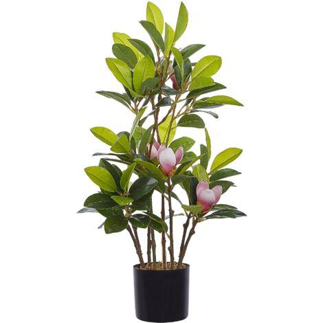 Artificial Potted Plant for Indoor Use Plastic Decoration Black Pot Magnolia