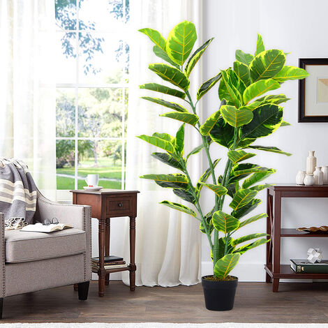 Artificial Rubber Tree in Pot Fake Plant
