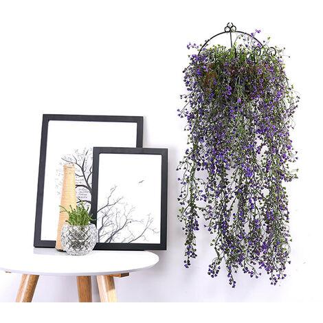 Artificial Trailing Ivy Flower Vine Leaf Garland Plants, Purple