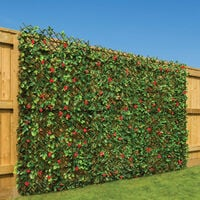 Artificial Trellis With Flowers (1m x 2m) - Red Flowers