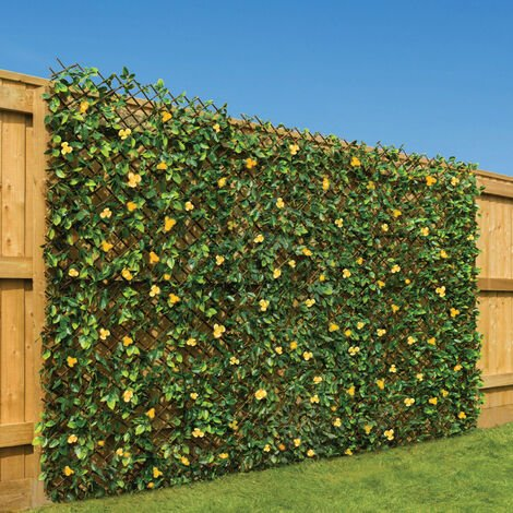 Artificial Trellis With Flowers (1m x 2m) - Yellow Flowers