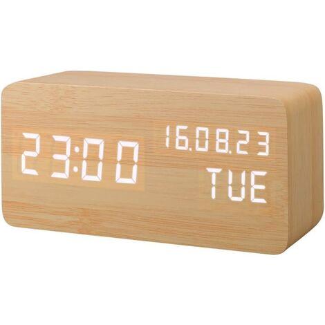 Artificial Wood LED Alarm Clock, Digital Clock Sound Activation, with Temperature / Humidity / Calendar Brightness USB / Battery Socket