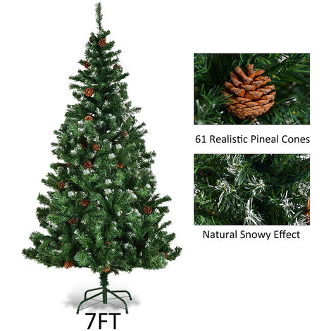 uk availability 49263 206ca Artificial Xmas Christmas Tree Cone Snow Covered Large Trees Fence 7ft