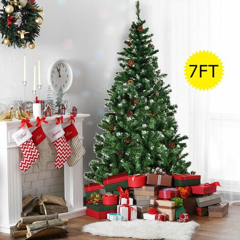 """main image of """"Artificial Xmas Christmas Tree Cone Snow Covered Large Trees Fence"""""""