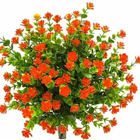 Artificielle Faux Fleurs, 4Pack artificielles UV Résistant Verdure Arbustes Plantes Intérieur Extérieur Suspendus Planteur Accueil Jardin Décor (Orange)