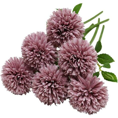 Artificielles Hortensia Fleurs, 6 Pcs Soie Chrysanthème Petite Boule De Fleurs pour La Maison Garden Party Office Décoration, Bouquets De Mariage De Mariée, Arrangement, Centres(Rose-Violet)
