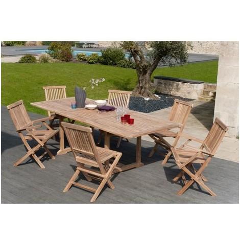 ARTIGUES Ensemble repas de jardin en bois teck massif 6 places - Table  extensible - Marron
