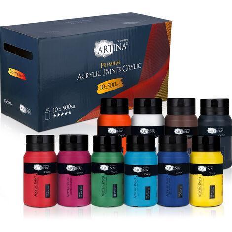 Artina crylic Peinture Acrylique pour Artistes Fortement pigmentées Lot de 10 Tubes de Peinture Acrylique de 500ml