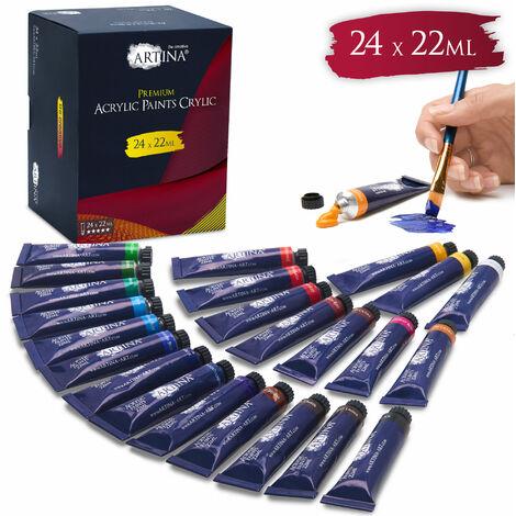 Artina - Lot de 24 Peintures Acryliques Crylic Premium – 24 Tubes de 22 ML, 24 Couleurs