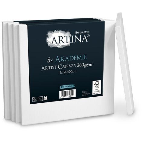 Artina Lot de 5 Toile à peindr 280gm² Akademie Certifiées FSC