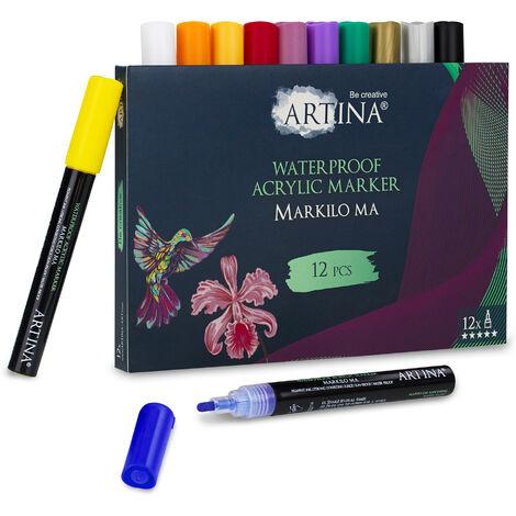 Artina Marqueur acrylique Markilo MA - Acrylic Colour Marker Acrylic Pens - encre hautement pigmentée et forte opacité pour le papier, la toile, le verre et bien plus encore 24