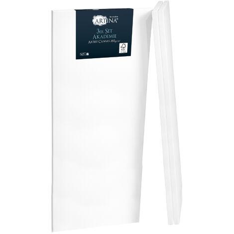 """main image of """"Artina Set de 3 lienzos blancos preestirados Akademie - Lienzos para pintar pretratados con bastidores estables - 100% algodón 280g/m² 40cm, 100cm"""""""
