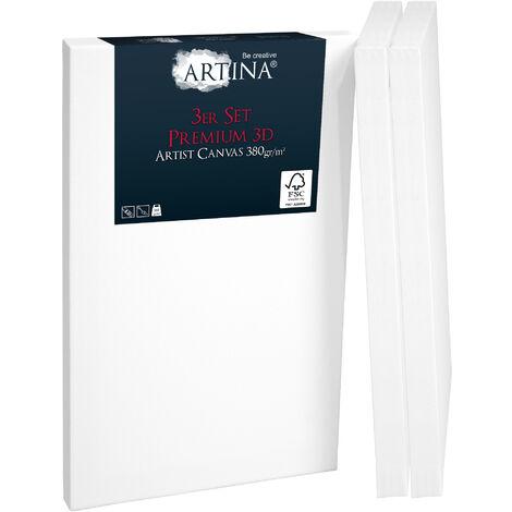 Artina Set de 3 lienzos blancos preestirados Premium 3D con bastidores de madera FSC® Lienzos para pintar estables y pretratados para pintar - con bastidores extra gruesos 380g/m² 18cm, 24cm