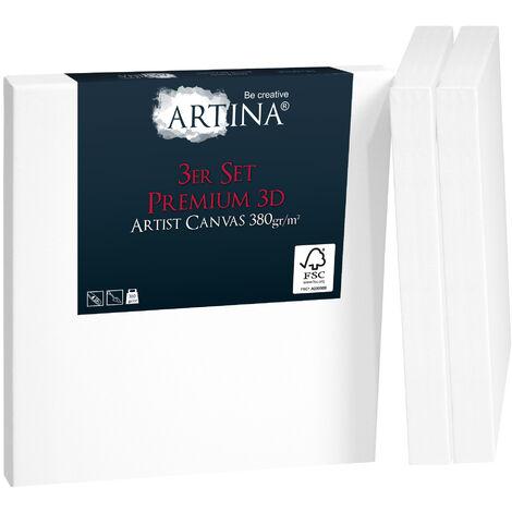 Artina Set de 3 lienzos blancos preestirados Premium 3D con bastidores de madera FSC® Lienzos para pintar estables y pretratados para pintar - con bastidores extra gruesos 380g/m² 25cm, 25cm