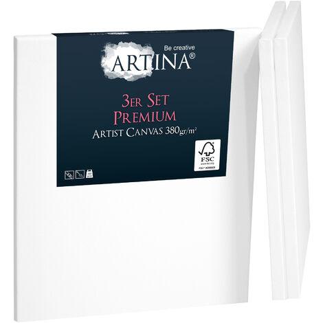 Artina Set de 3 lienzos blancos preestirados Premium con bastidores estables de madera FSC® - 30x40cm - Lienzos para pintar pretratados 40cm, 40cm