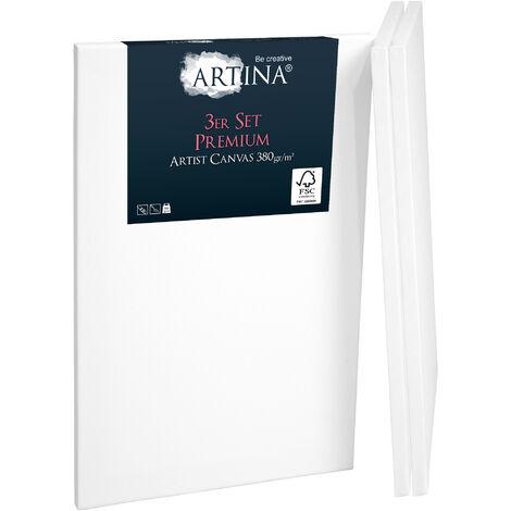 Artina Set de 3 lienzos blancos preestirados Premium con bastidores estables de madera FSC® - 30x40cm - Lienzos para pintar pretratados 40cm, 60cm
