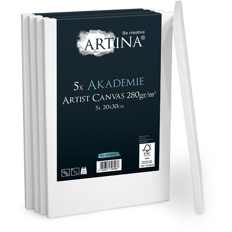 Artina Set de 5 lienzos Blancos Akademie con certificación FSC® - 100% algodón Lienzo y Bastidor Blancos 280g/m²