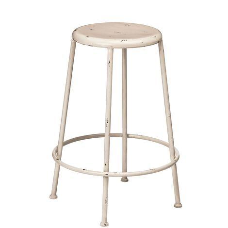 Artisan stool,cream metal