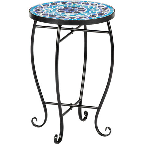 """main image of """"Artisasset 35*35*52cm Stained Glass Blue Ocean Mosaic Table Iron Round Europe - Blue - Blue"""""""