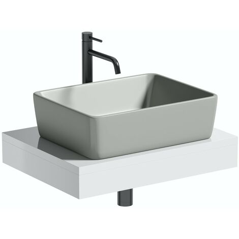 Artist Collection Gorgeous Grey rectangular basin with countertop shelf
